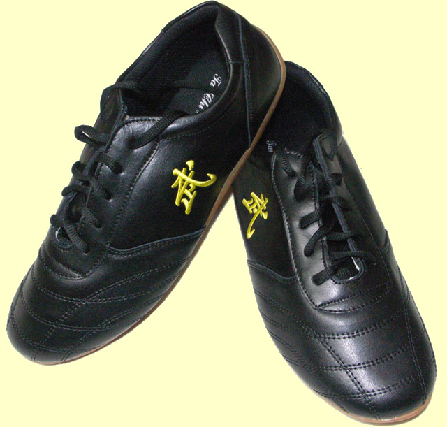 "Black ""Wu"" Leather Tai Chi Shoes"