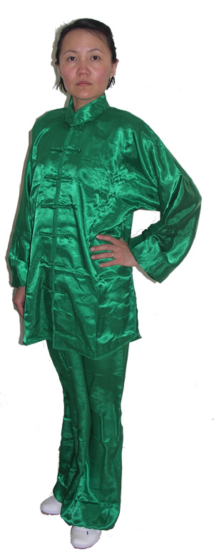 Green Simulated Silk Suit